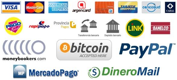 metodos de pago, tarjetas de credito, visa, mastercard, american express, tranferencias bancarias, pagofacil, mercadopago, dineromail, bitcoin y otros medios de pagos internacionales